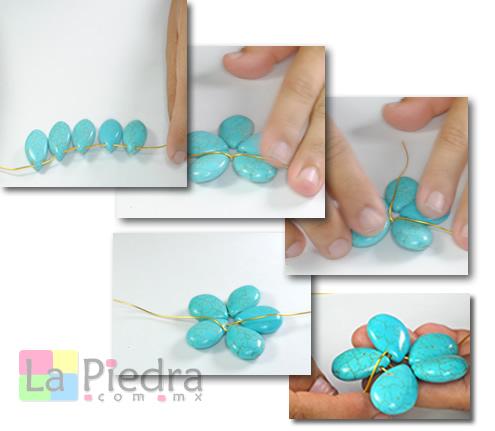 Collares de turquesa uniendo piedras con alambre - Piedras para collares ...