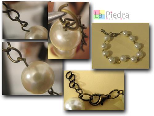 Pulseras con Perlas paso 6