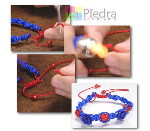 Como hacer pulseras de shamballa en espiral con flor coral y Dije Bola de fuego_ paso_13