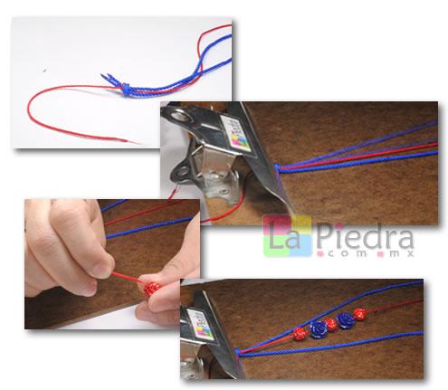 Como hacer pulseras de shamballa en espiral con flor coral y Dije Bola de fuego_ paso_2