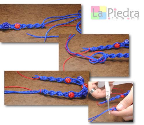 Como hacer pulseras de shamballa en espiral con flor coral y Dije Bola de fuego_ paso_8