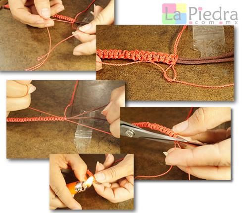 Paso 4. Una vez ya teniendo la pulsera tejida de nudos hasta donde queramos, vamos a realizar un nudo sencillo por cada lado, cortamos y quemamos las puntas