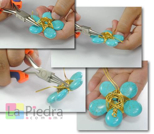 Collares de turquesa uniendo piedras con alambre - Como hacer color turquesa ...