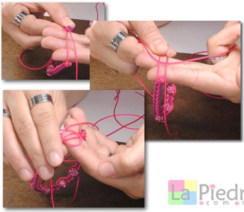 Como hacer pulseras de Shambala con dije bola de fuego _paso_11