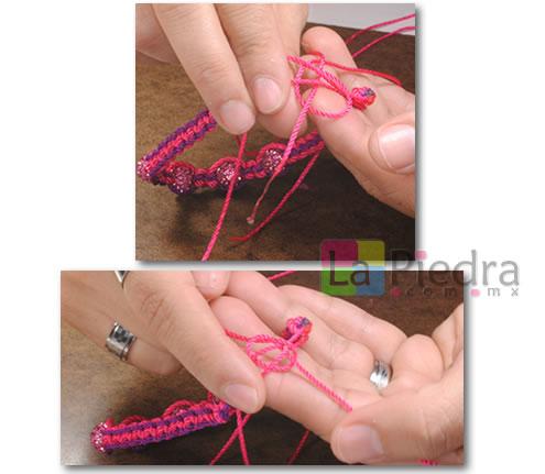 Como hacer pulseras de Shambala con dije bola de fuego _paso_12