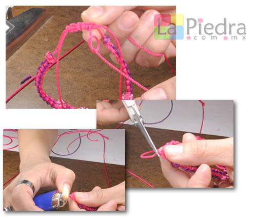 Como hacer pulseras de Shambala con dije bola de fuego _paso_14