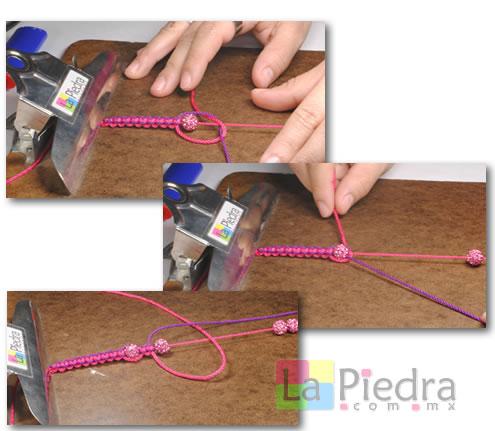 Como hacer pulseras de Shambala con dije bola de fuego _paso_7