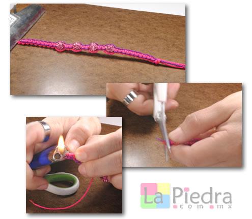 Como hacer pulseras de Shambala con dije bola de fuego _paso_9