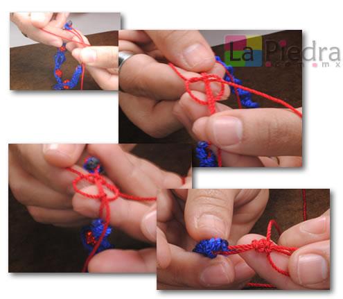 Como hacer pulseras de shamballa en espiral con flor coral y Dije Bola de fuego_ paso_10