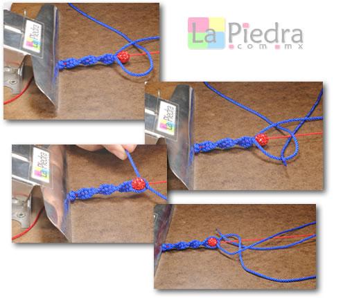 Como hacer pulseras de shamballa en espiral con flor coral y Dije Bola de fuego_ paso_5