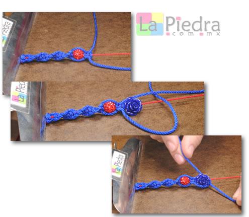 Como hacer pulseras de shamballa en espiral con flor coral y Dije Bola de fuego_ paso_6