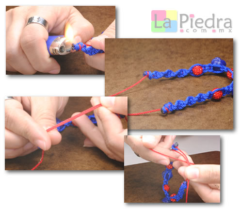 Como hacer pulseras de shamballa en espiral con flor coral y Dije Bola de fuego_ paso_9