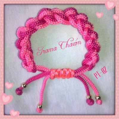 pulsera tejida doble cordon rosa