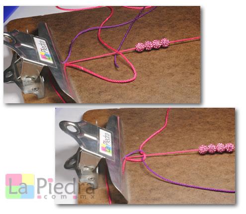 Como hacer pulseras de Shambala con dije bola de fuego _paso_3
