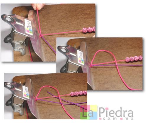 Como hacer pulseras de Shambala con dije bola de fuego _paso_4